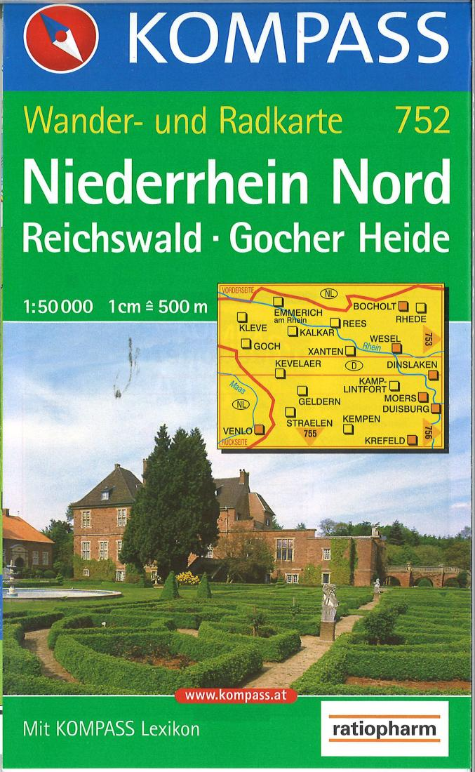 Cover of Niederrhein Nord-Reichswald Hiking Map By Kompass