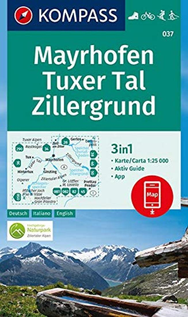 Cover of Mayrhofen - Tuxer Tal - Zillergrund Hiking Map By Kompass