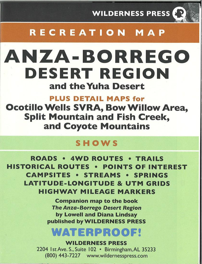 Cover of Anza-Borrego Desert State Park, California Recreation Map by Wilderness Press