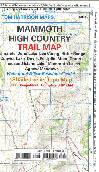 Cover of folded Map of Mammoth High Country by Tom Harrison Maps