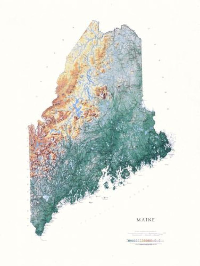 Cover of Maine Physical Laminated Wall Map by Raven Maps