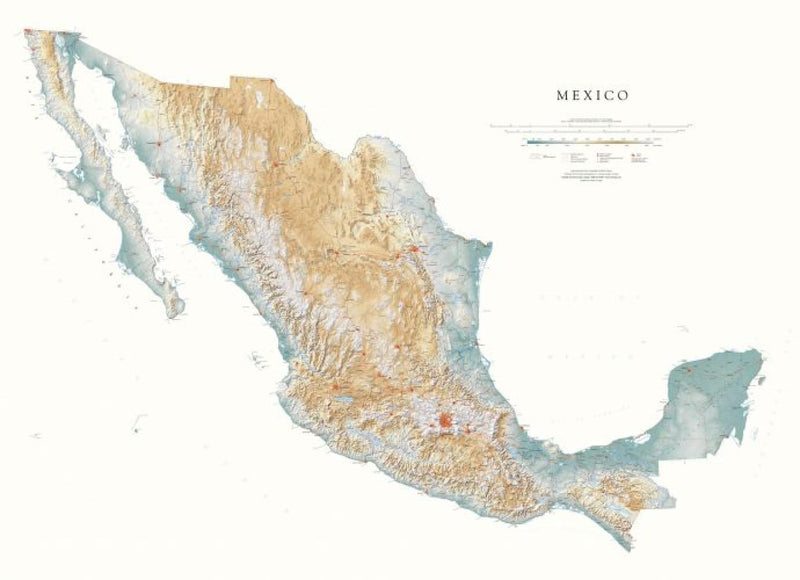 Cover of Mexico Physical Wall Map by Raven Maps