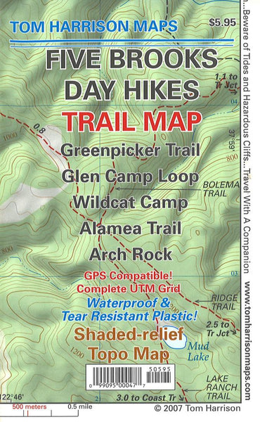 Cover of folded Map of Five Brooks Day Hikes Trail Map by Tom Harrison Maps