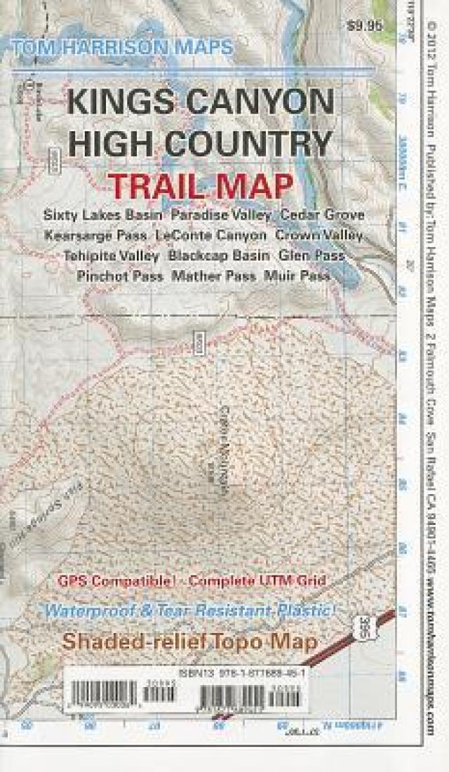 Cover of folded Map of Kings Canyon High Country Trail Map by Tom Harrison Maps