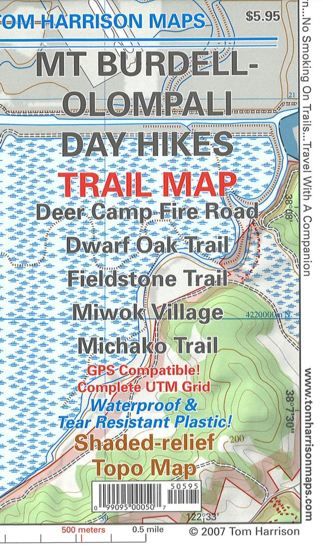 Cover of folded Map of Mt. Burdell - Olompali Day Hikes Trail Map by Tom Harrison Maps