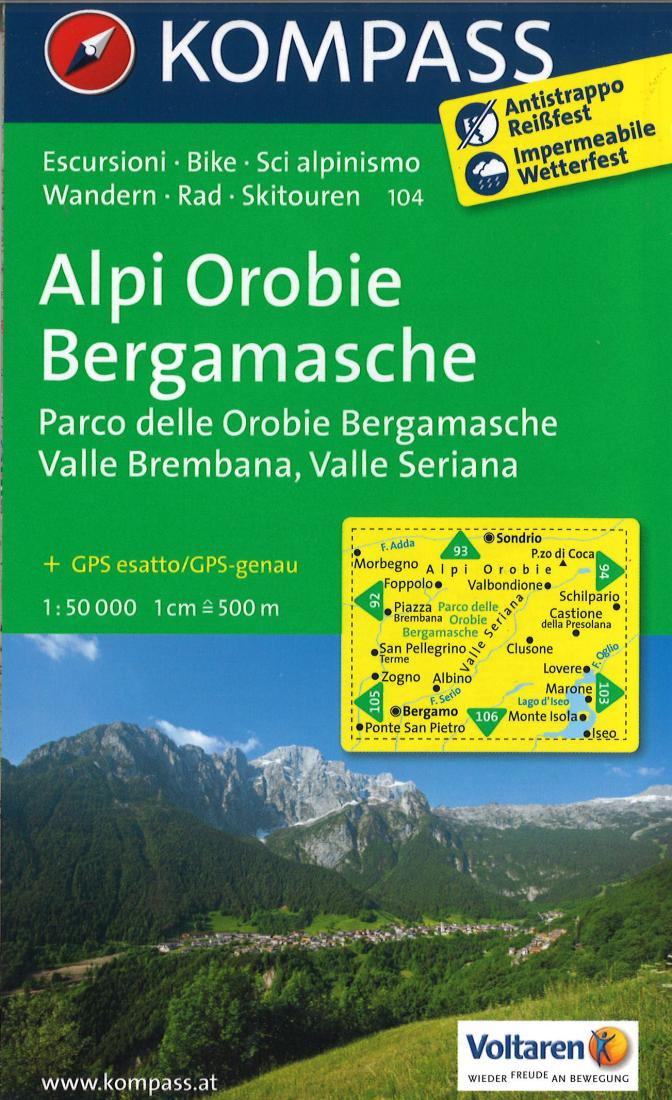 Cover of Alpi Orobie Bergamasche Hiking Map By Kompass