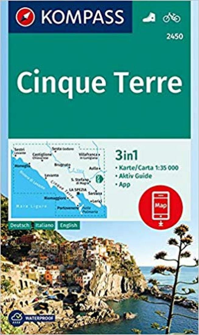 Cover of Cinque Terre (#2450) Hiking Map By Kompass
