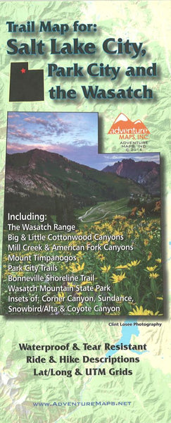 Cover of Salt Lake City, Park City, and the Wasatch, Trail Map by Adventure Maps