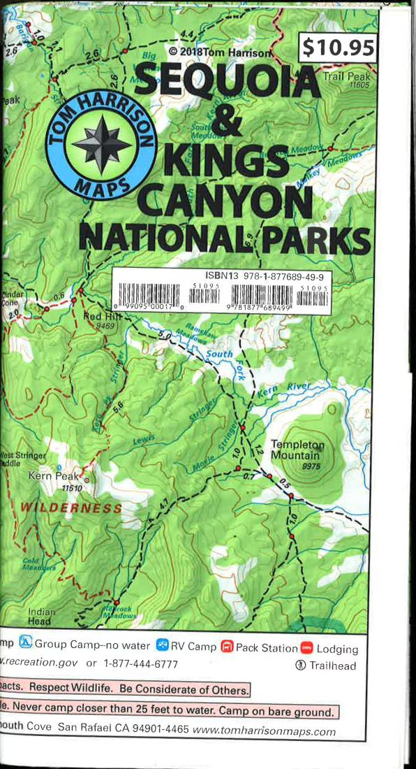 Cover of folded Map of Sequoia and Kings Canyon National Parks Recreation Map by Tom Harrison Maps