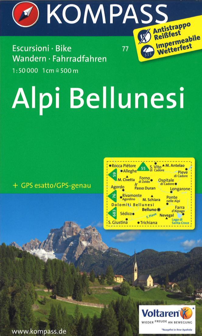 Cover of Alpi Bellunesi Hiking Map By Kompass