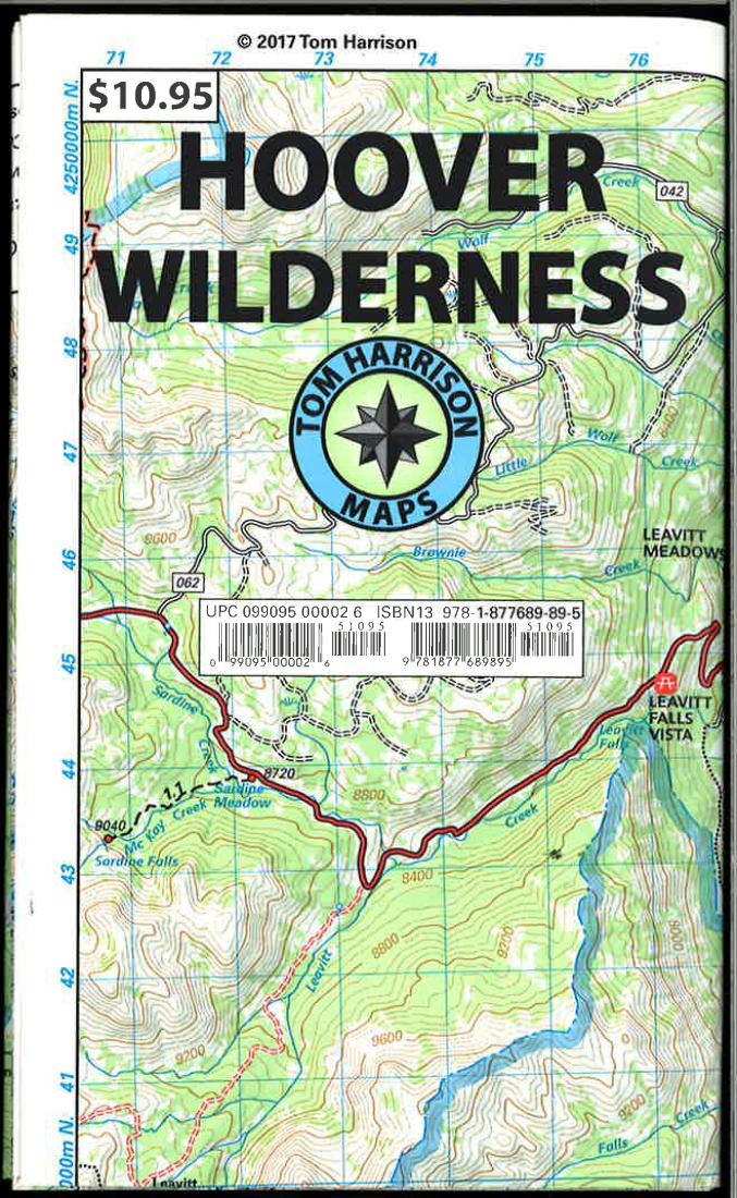 Cover of folded Map of Hoover Wilderness, California Trail Map by Tom Harrison Maps