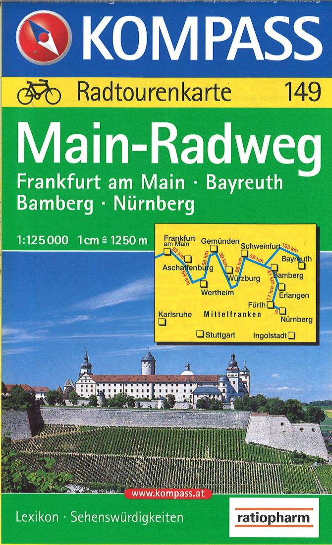 Cover of Main-Radweg Cycling Map Hiking Map By Kompass