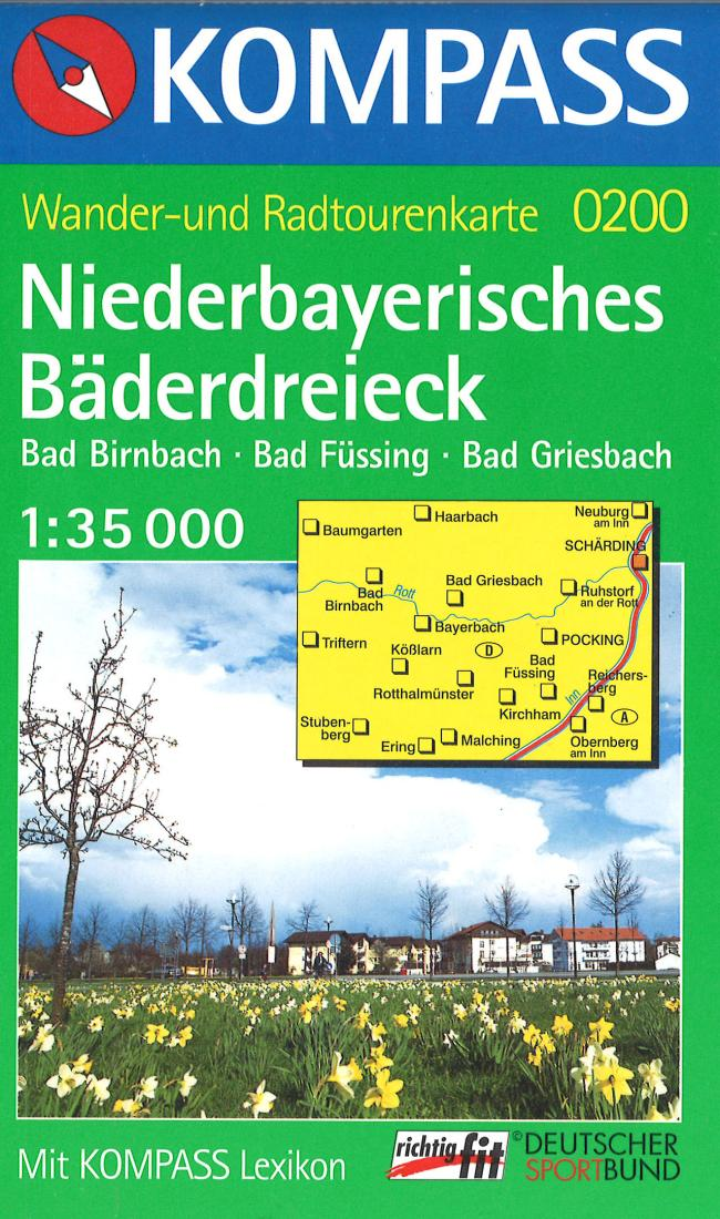 Cover of Niederbayerisches Baderdreieck Hiking Map By Kompass