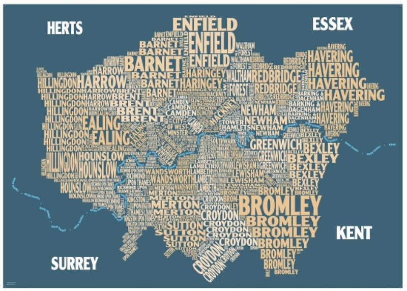 Cover of Graphic Map London boroughs beige background by Oxford Cartographers