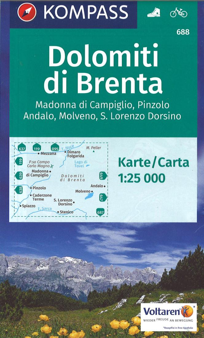 Cover of Dolomiti di Brenta Hiking Map By Kompass
