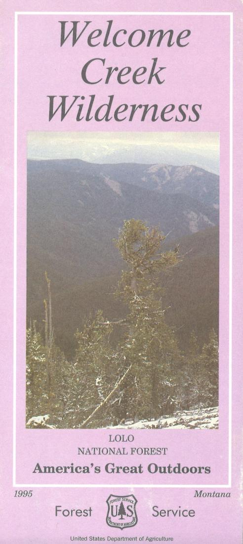 Cover of Welcome Creek Wilderness - Lolo National Forest Map by U.S. Forest Service