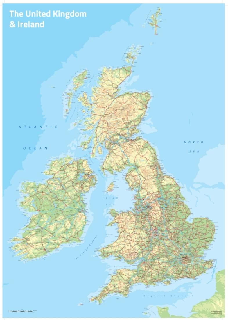 Cover of UK and Ireland Topographic Wall Map by Oxford Cartographers