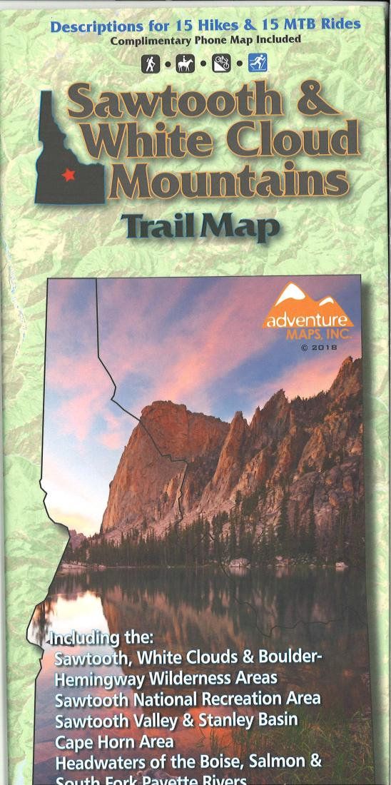 Cover of Sawtooth and White Cloud Mountains Trail Map by Adventure Maps