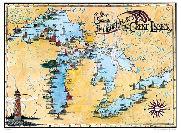 Cover of Great Lakes, Lighthouse Map