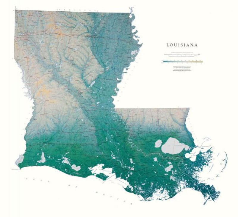 Cover of Louisiana Physical Laminated Wall Map by Raven Maps