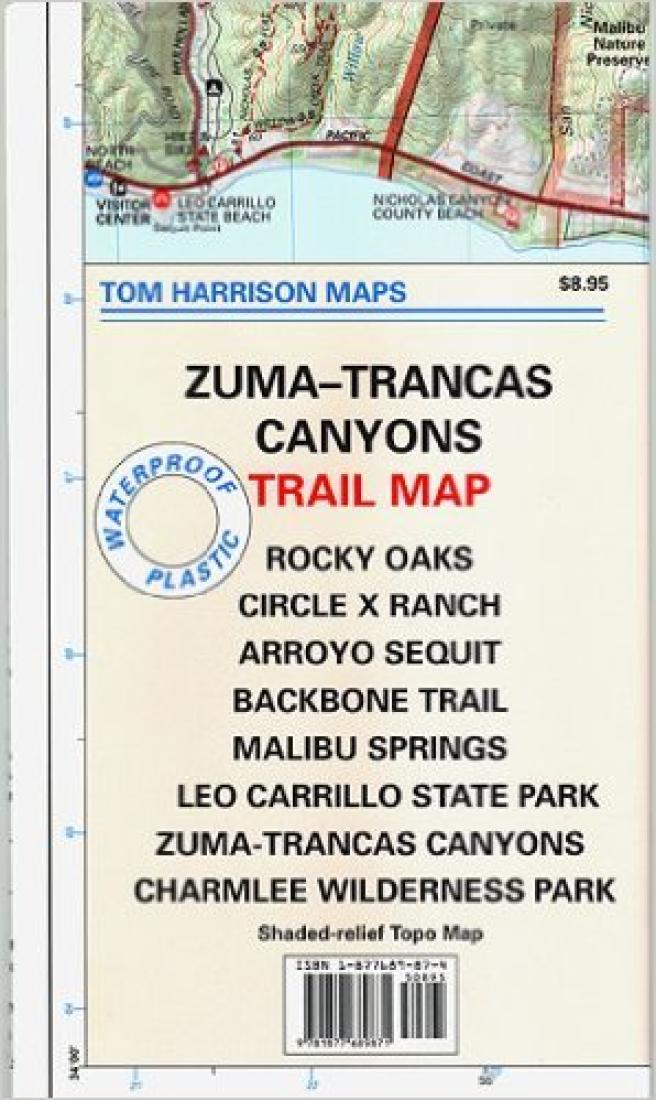 Cover of folded Map of Zuma and Trancas Canyons, California by Tom Harrison Maps