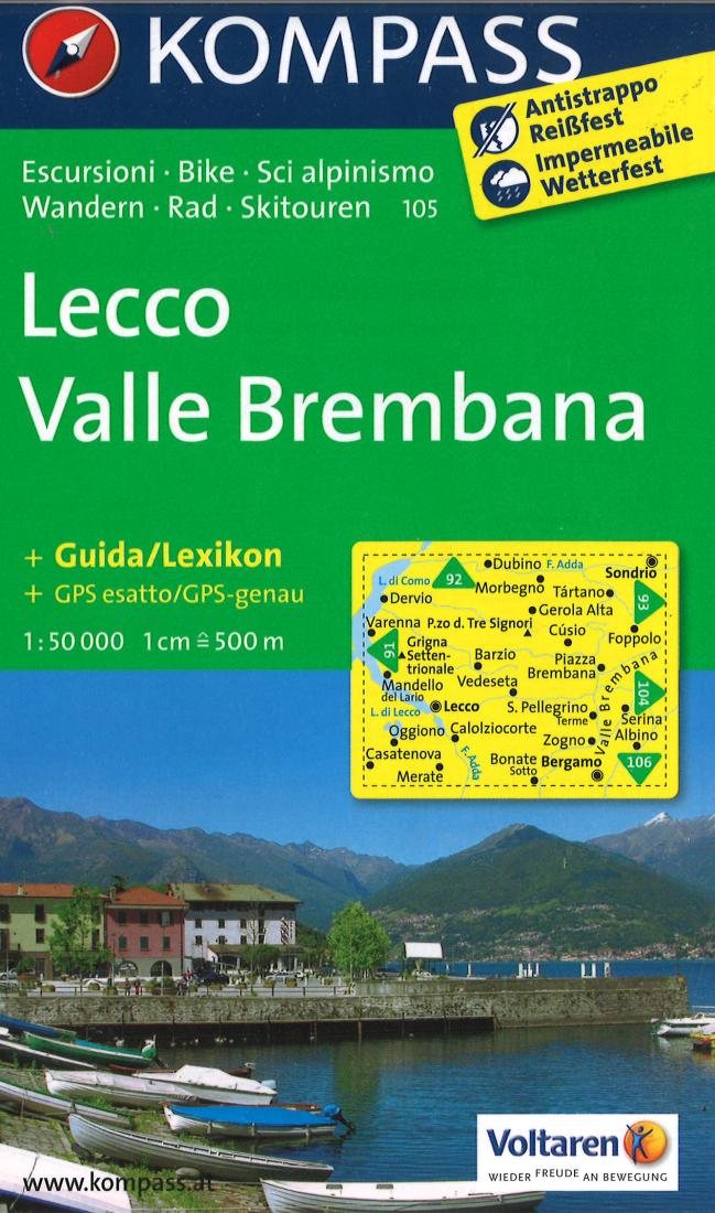Cover of Lecco valle Brembana Hiking Map By Kompass