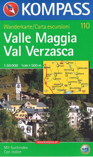 Cover of Valle Maggia Val Verzasca Hiking Map By Kompass