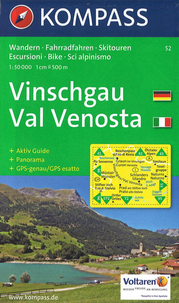 Cover of Vinschgau/Val Venosta Hiking Map By Kompass