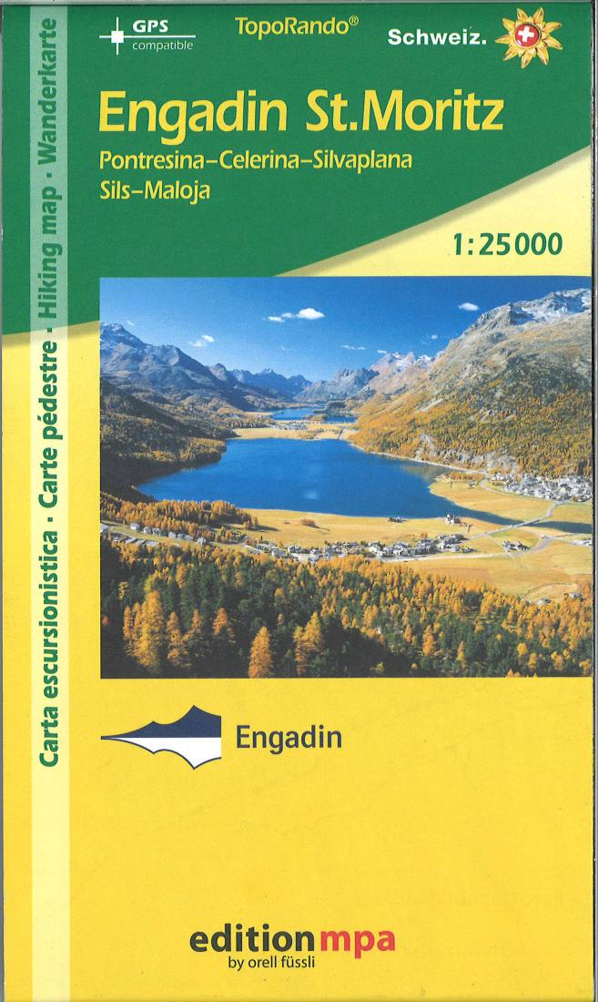 Cover of Engadin St. Moritz, Topographical Hiking Map by Edition MPA by Orell Fussli