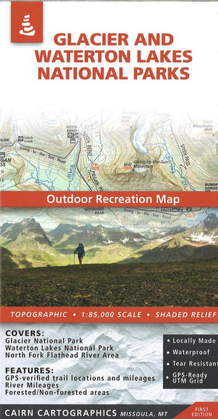 Cover of Glacier National Park Outdoor Recreation Map  By Cairn Cartographics