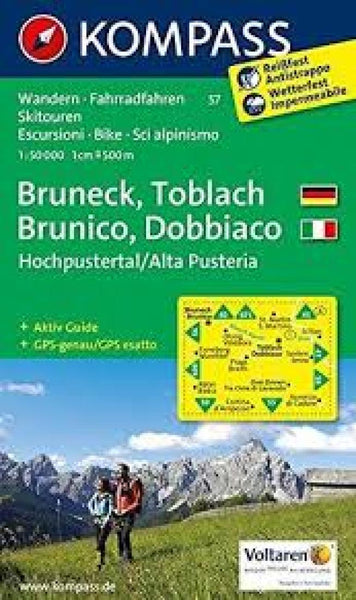 Cover of Bruneck/Brunico - Toblach/Dobbiaco Hiking Map By Kompass