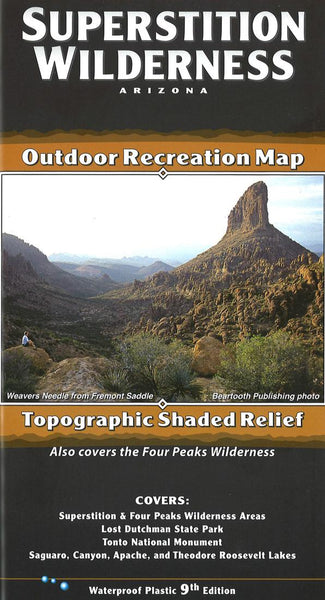 Cover of Superstition Wilderness, Arizona Outdoor Recreation Map with Topographic Shaded Relief by Beartooth Publishing