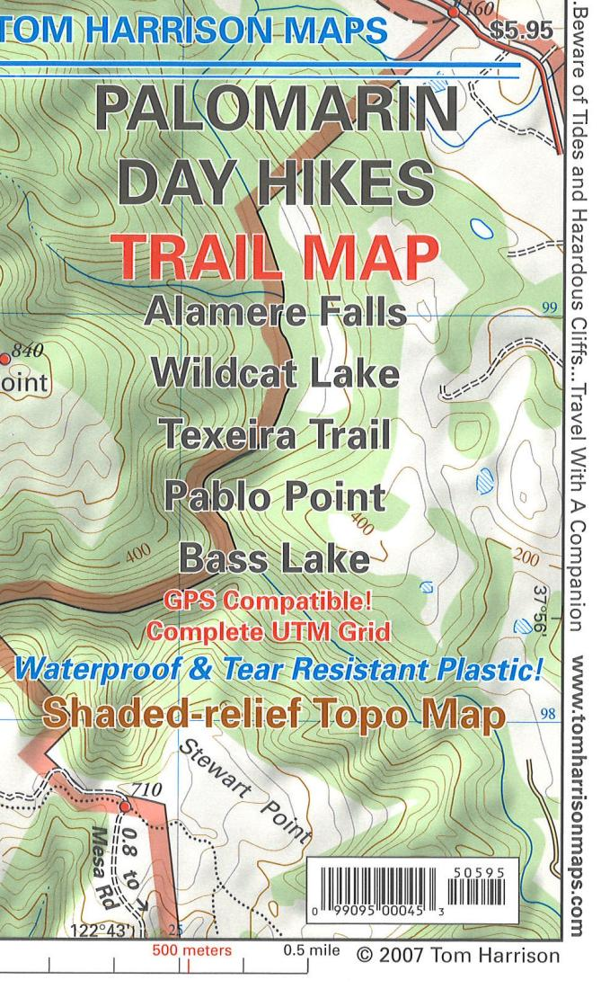 Cover of folded Map of Palomarin Day Hikes Trail Map by Tom Harrison Maps