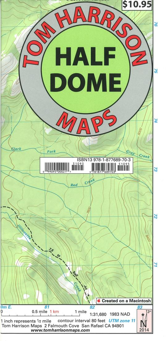Cover of folded Map of Half Dome and Yosemite, California by Tom Harrison Maps