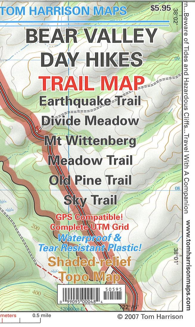Cover of folded Map of Bear Valley Day Hikes Trail Map by Tom Harrison Maps