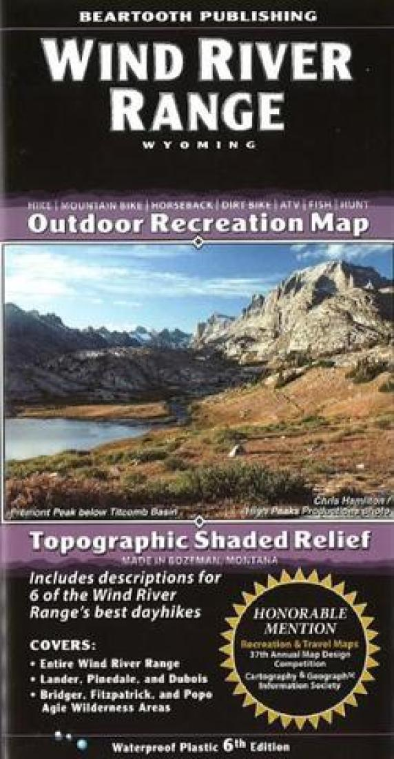Cover of Wind River Range, Wyoming Outdoor Recreation Map with Topographic Shaded Relief by Beartooth Publishing