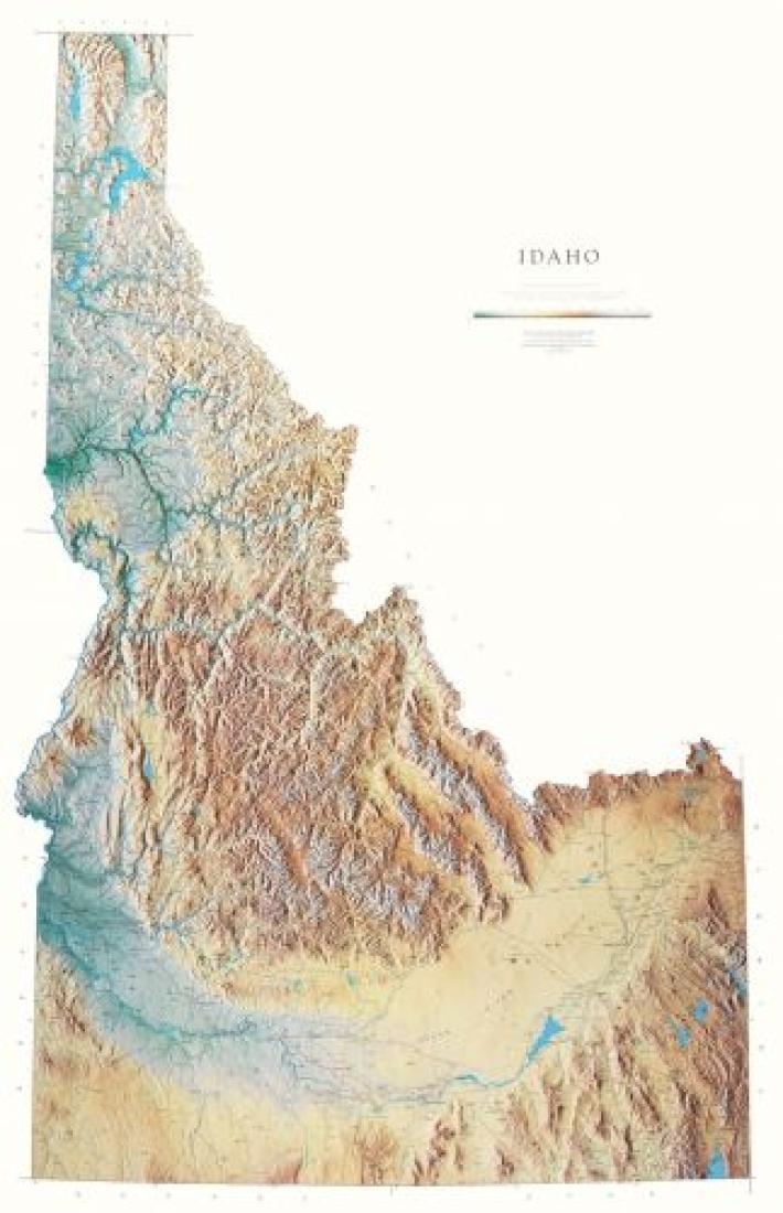 Cover of Idaho Physical Laminated Wall Map by Raven Maps