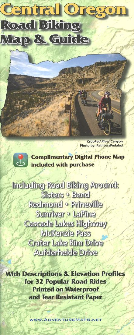 Cover of Central Oregon, Road Biking Map and Guide by Adventure Maps