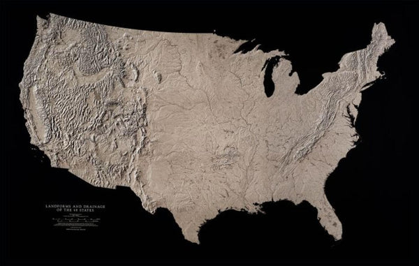 Cover of USA Landforms & Drainage of 48 States Black & White Laminated Wall Map by Raven Maps