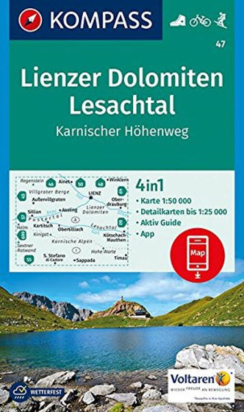 Cover of Lienzer Dolomiten - Lesachtal - Karnischer Hohenweg Hiking Map By Kompass