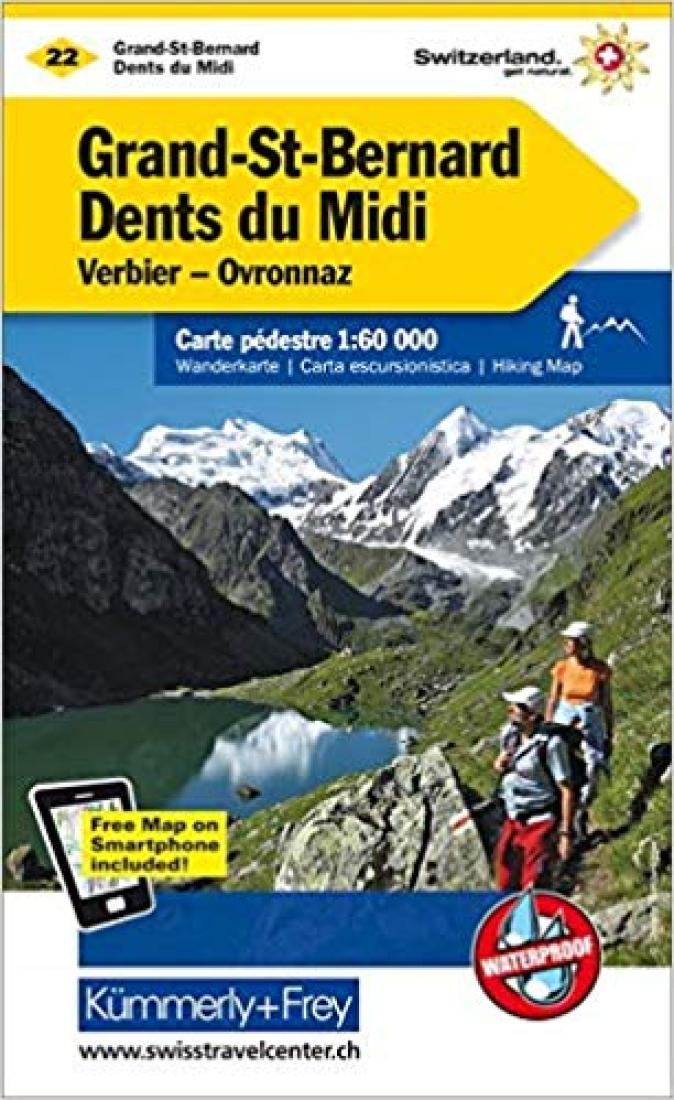 Cover of Grand-St-Bernard - Dents du Midi : Switzerland Hiking Map #22 by Kummerly + Frey