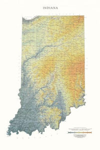 Cover of Indiana Physical Laminated Wall Map by Raven Maps