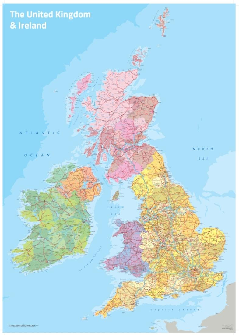 Cover of UK and Ireland Political Wall Map by Oxford Cartographers
