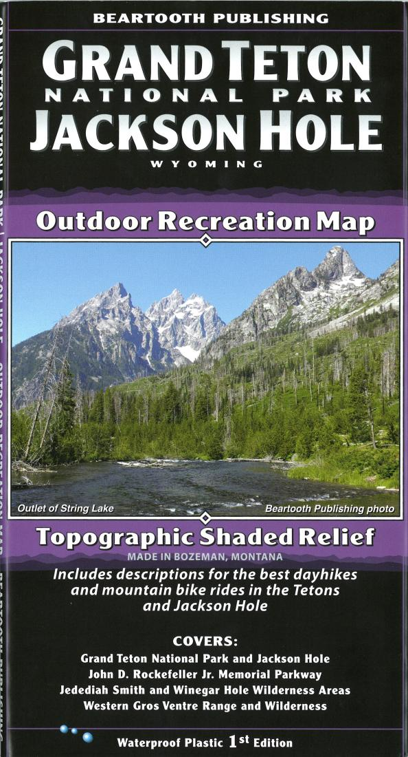 Cover of Grand Teton National Park and Jackson Hole, Wyoming Outdoor Recreation Map with Topographic Shaded Relief by Beartooth Publishing
