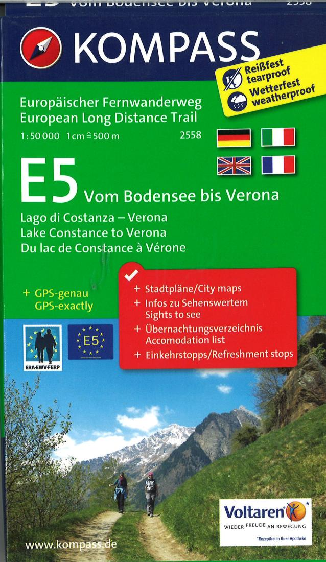 Cover of E5: From Lake Constance to Verona Hiking Map By Kompass