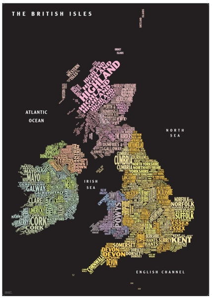 Cover of Graphic Map UK counties black background by Oxford Cartographers