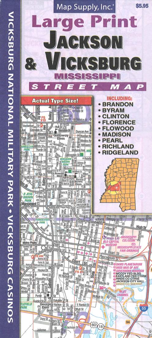 Cover of Jackson & Vicksburg MS Street Map by Map Supply, Inc.
