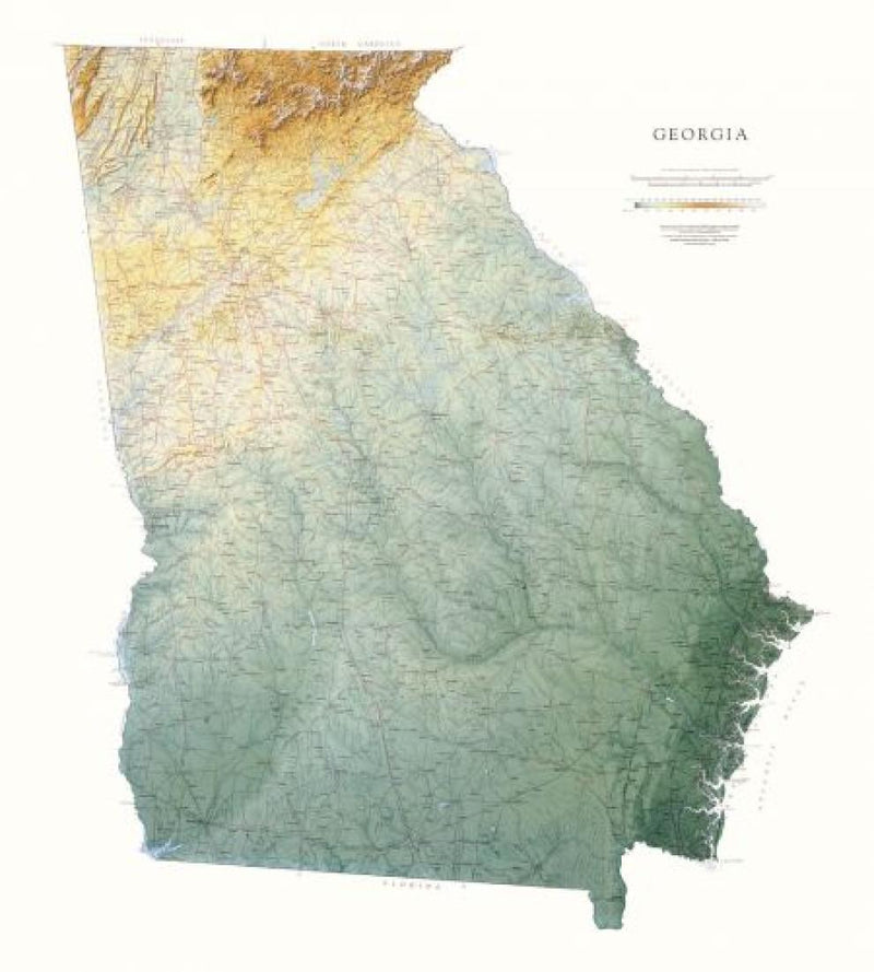 Cover of Georgia Physical Laminated Wall Map by Raven Maps