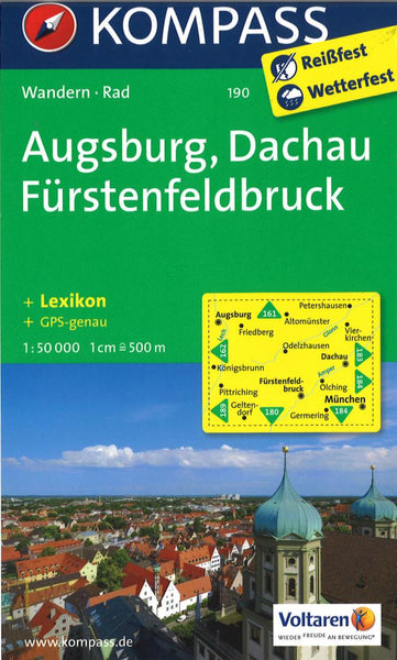 Cover of Augsburg, Dachau Furstenfeldbruck Hiking Map By Kompass