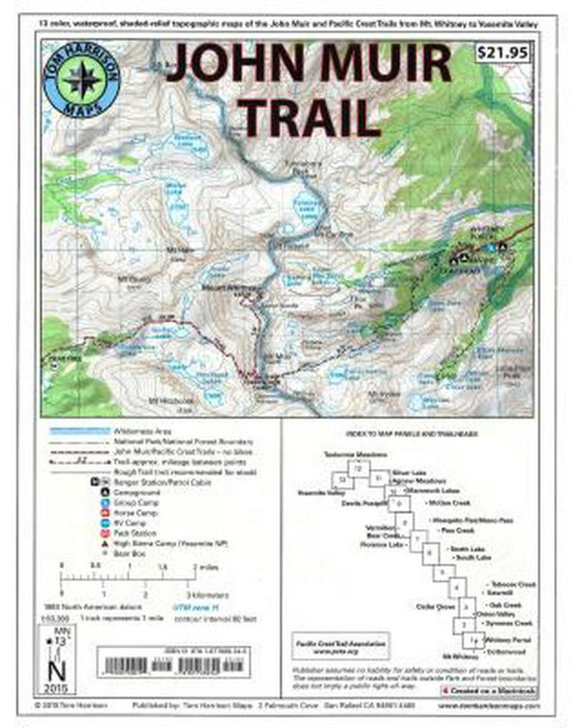 Cover of folded Map of John Muir Trail Map Pack by Tom Harrison Maps
